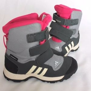 Adidas snow boots girls size 3.5 y gray pink shoes